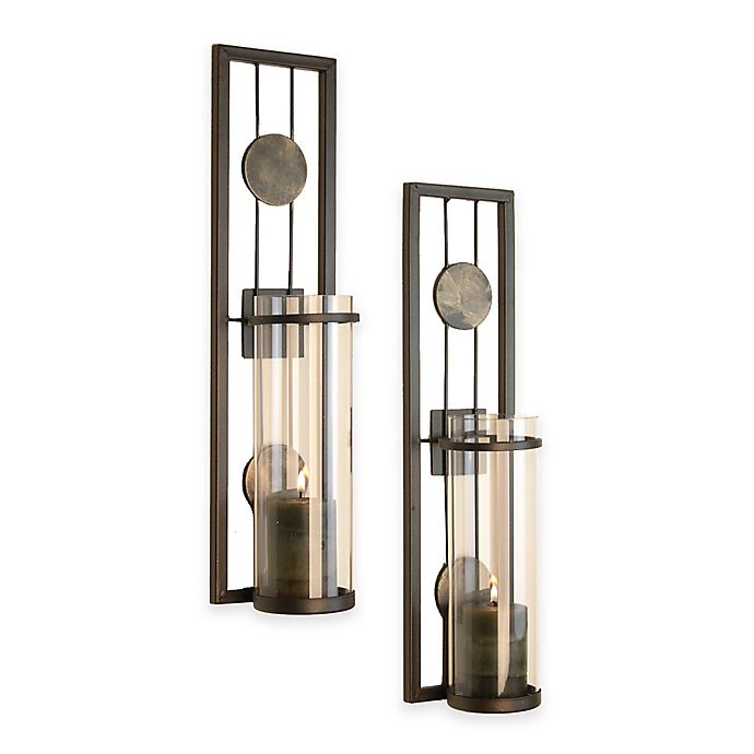 Alternate image 1 for Danya B™ Contemporary Wall Sconce with Medallions (Set of 2)