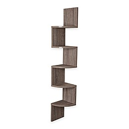 Danya B™ Rustic Weathered Corner Zigzag Shelf in Oak