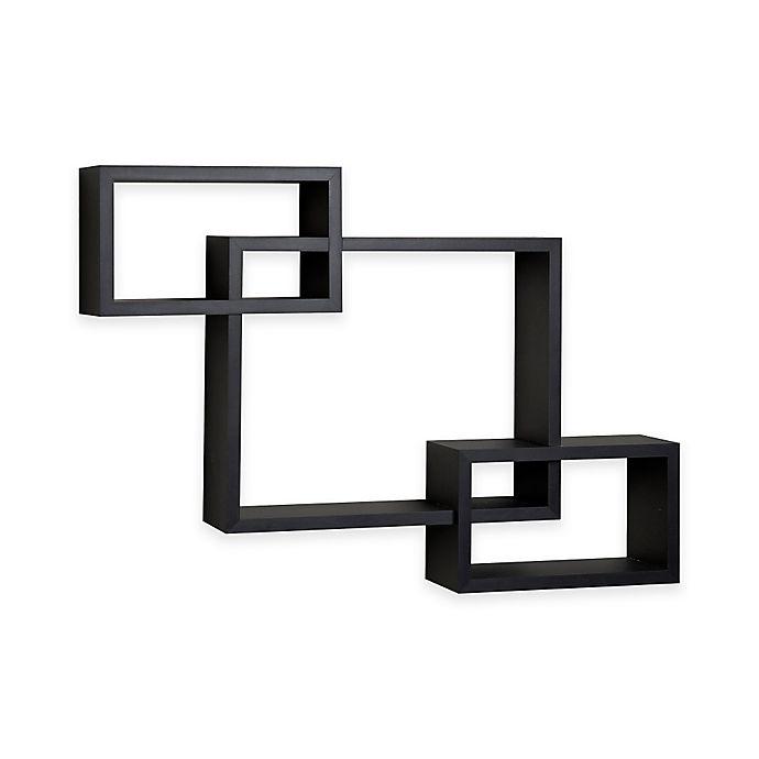 Alternate image 1 for Danya B™ Intersecting Cubbies Wall Shelf in Black