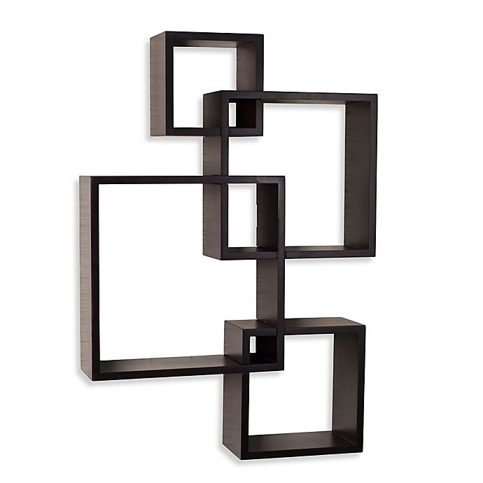 Alternate image 1 for Danya B™ Intersecting Cube Shelves in Laminated Espresso