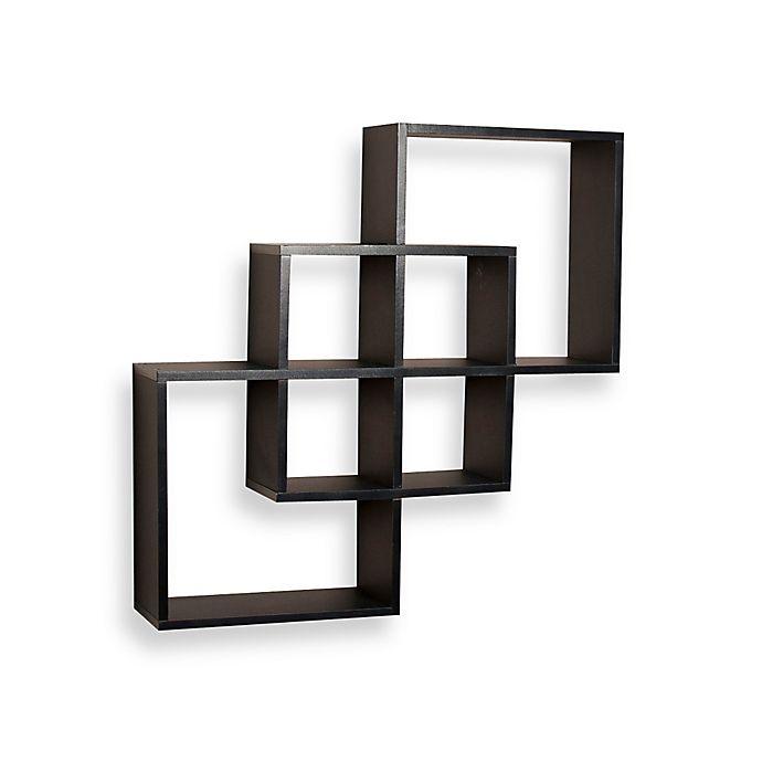 Alternate image 1 for Danya B™ Intersecting Squares Wall Shelf in Laminated Black