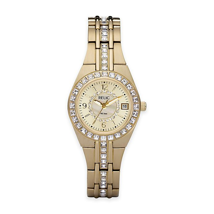 Alternate image 1 for Relic® Queen's Court 26mm Round Dial Crystal-Accented Watch in Goldtone Stainless Steel
