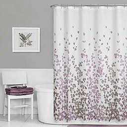 Maytex Leaf Print Fabric Shower Curtain in Purple