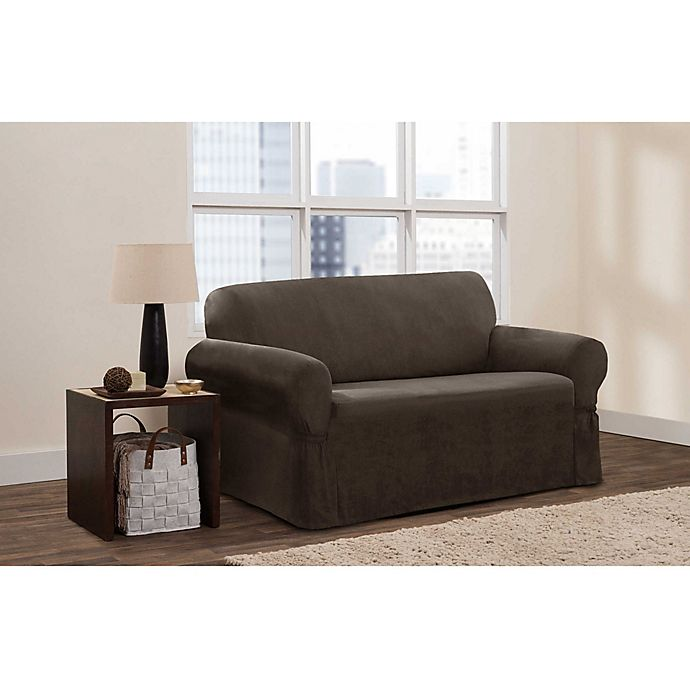 Alternate image 1 for Zenna Home Smart Fit Stretch Fit Loveseat Slipcover in Chocolate