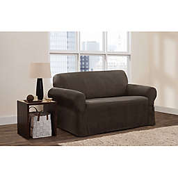 Zenna Home Stretch Suede Smart Fit Loveseat Slipcover in Chocolate
