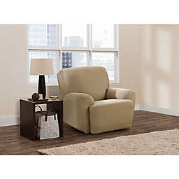 Zenna Home Smart Fit Stretch Suede 4-Piece Recliner Slipcover in Tan