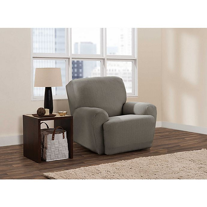 Alternate image 1 for Zenna Home Smart Fit Stretch Suede 4-Piece Recliner Slipcover in Grey