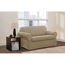 Zenna Home Smart Fit Stretch Suede 2-Piece Loveseat Slipcover in Tan