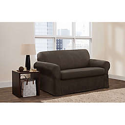Zenna Home Smart Fit Stretch Suede 2-Piece Loveseat Slipcover in Chocolate
