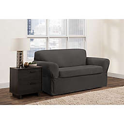 Zenna Home Portland Smart Fit 2-Piece Stretch Loveseat Slipcover Set in Charcoal