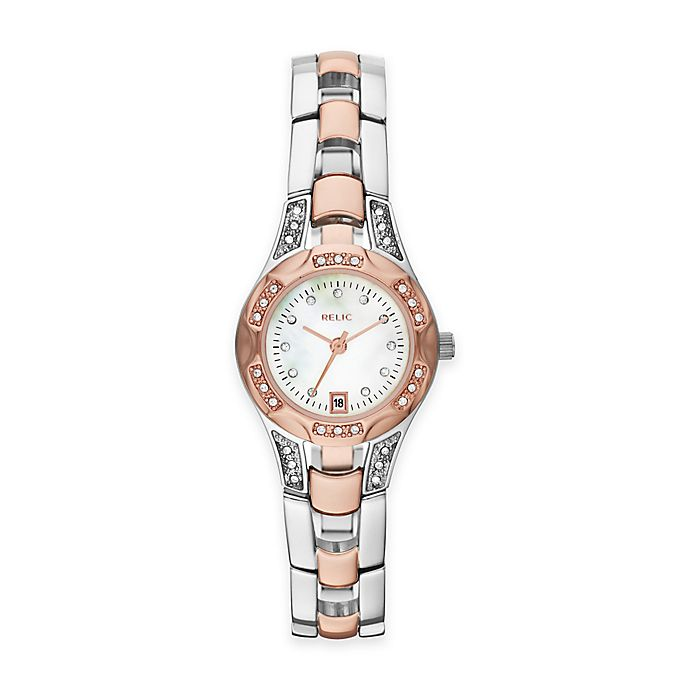 Alternate image 1 for Relic® Charlotte 25mm Mother of Pearl Dial Crystal-Accented Watch in Two-Tone Stainless Steel