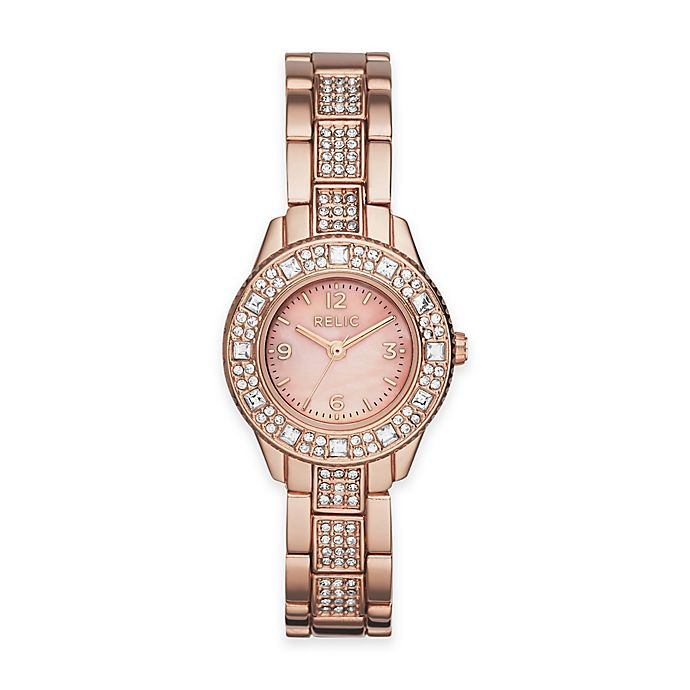 Alternate image 1 for Relic by Fossil Sophia Ladies 26mm Small Crystal-Accent Watch in Rose Goldtone