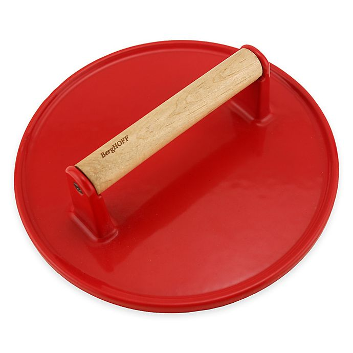 Alternate image 1 for BergHOFF® Round Cast Iron Steak Press in Red