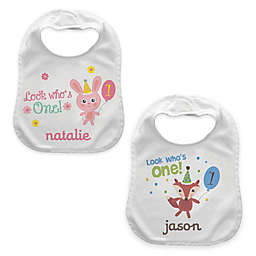 """Look Who's One"" Birthday Bib"