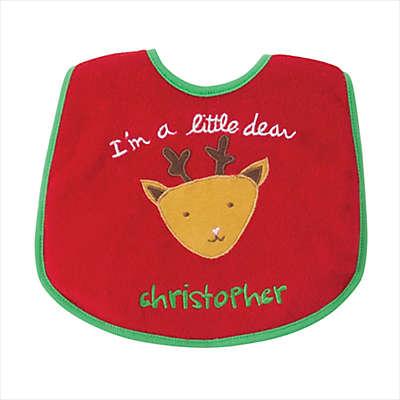 "I'm a Little Dear"" Holiday Bib in Red/Green"