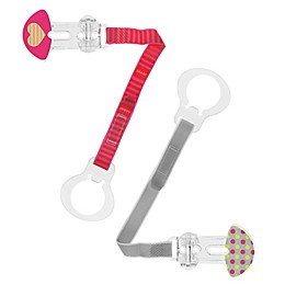 MAM 2-Pack Paci Clip with Leash in Purple/Red