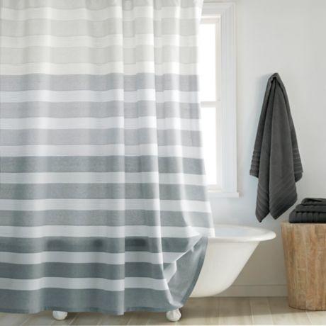Dkny Highline Stripe Shower Curtain, Grey Striped Shower Curtain