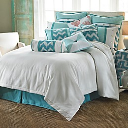 HiEnd Accents Catalina Duvet Cover Set in Aqua/White
