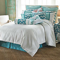 HiEnd Accents Catalina King Duvet Cover Set in Aqua/White