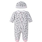 Little Me® Size 3M 2-Piece Bird Toile Footie and Hat Set in Black/White
