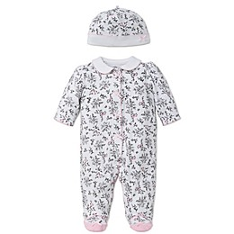 Little Me® 2-Piece Bird Toile Footie and Hat Set in Black/White