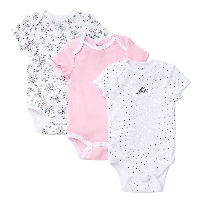 Alternate image 1 for Little Me® 3-Pack Bird Toile Bodysuits in White/Pink