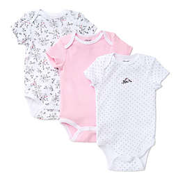 Little Me® 3-Pack Bird Toile Bodysuits in White/Pink