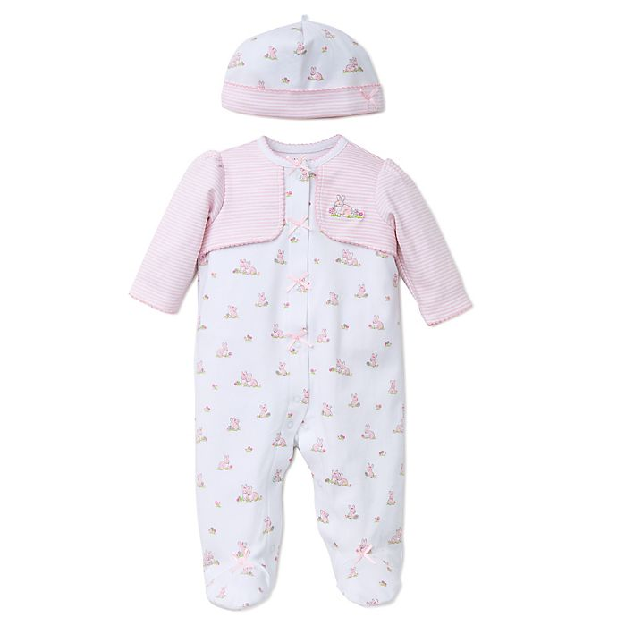 Alternate image 1 for Little Me® Baby Bunnies 2-Piece Footie with Faux Jacket and Hat Set