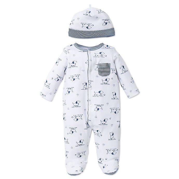 Alternate image 1 for Little Me® 2-Piece Puppy Toile Footie and Hat Set in White/Blue
