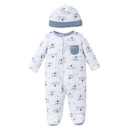 Little Me® Size 6M 2-Piece Puppy Toile Footie and Hat Set in White/Blue