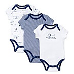Little Me® Size 3M 3-Pack Puppy Toile Bodysuits in White/Navy
