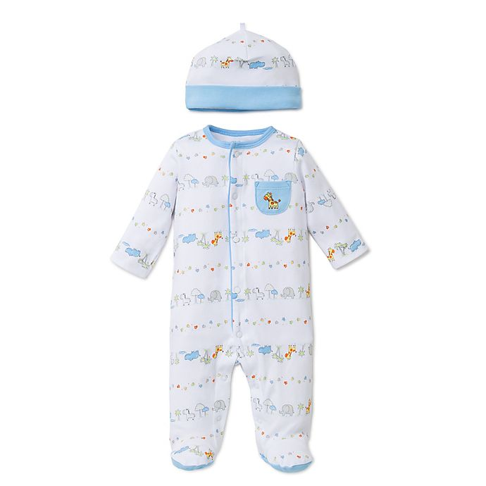 Alternate image 1 for Little Me® 2-Piece Fun Safari Footie and Hat Set in White/Blue