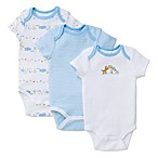 Little Me® Size 3M 3-Pack Fun Safari Bodysuits in White/Blue
