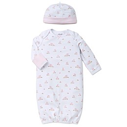 Little Me® Baby Bunnies 2-Piece Gown and Hat Set in White/Pink
