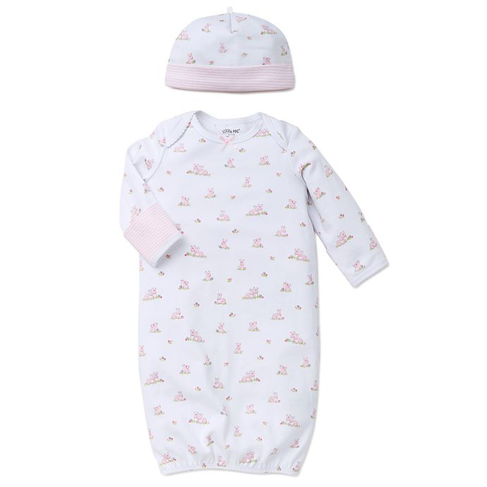 Alternate image 1 for Little Me® Baby Bunnies 2-Piece Gown and Hat Set in White/Pink