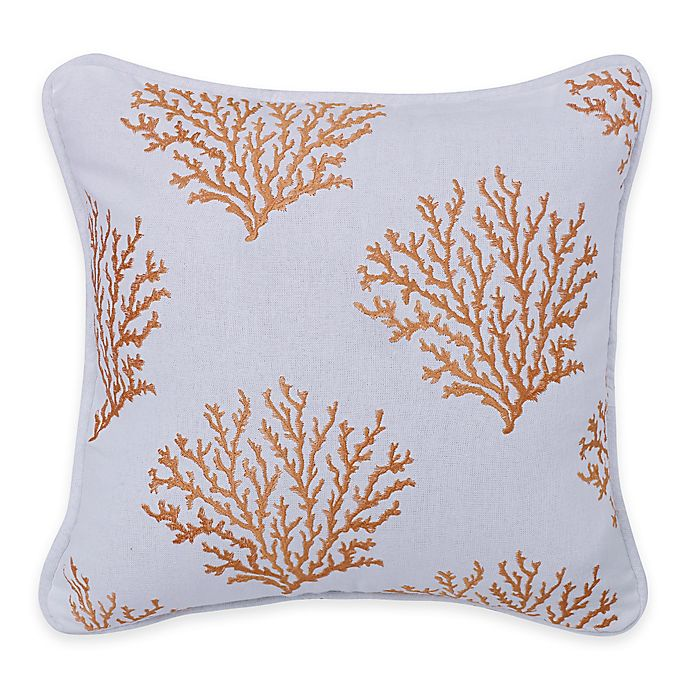 Hiend Accents Catalina Coral Square Throw Pillow In Saffron White Bed Bath Beyond