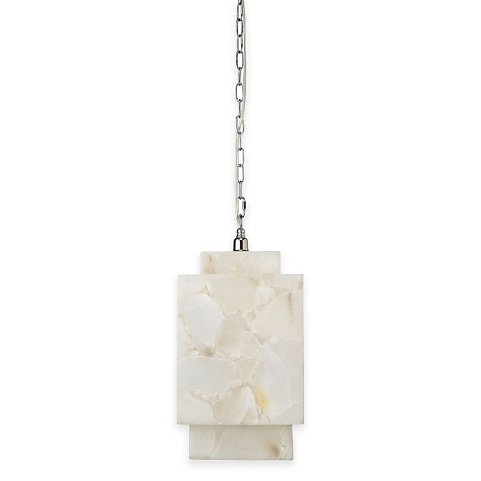 Alternate image 1 for Borealis 1-Light Cube Alabaster Pendant