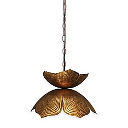 Large Flowering Lotus 1-Light Pendant in Antique Gold