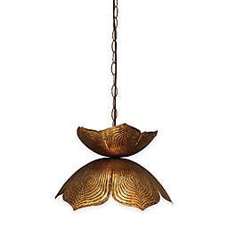 Large Flowering Lotus 1-Light Pendant in Antique Gold