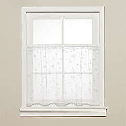 Heritage Lace® Wind Chill Kitchen Window Tier with Trim  in White