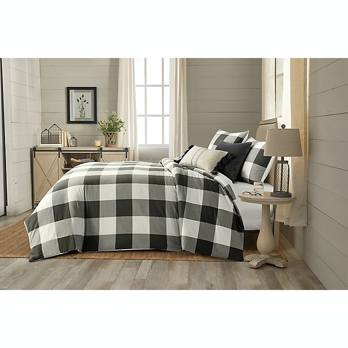 Alternate image 1 for Bee & Willow™ Home Yarn Dye Buffalo Check 3-Piece King Comforter Set in Charcoal