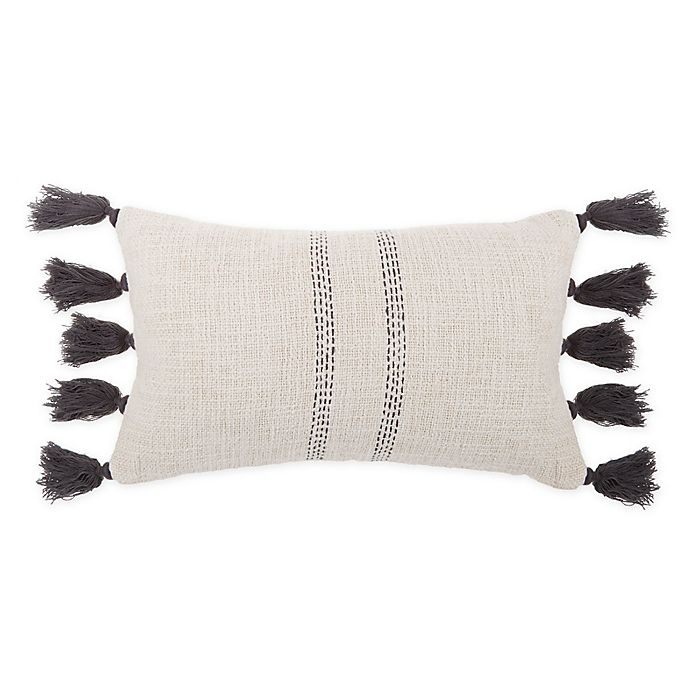 Alternate image 1 for Bee & Willow™ Home Woven Tassel Oblong Throw Pillow in Charcoal