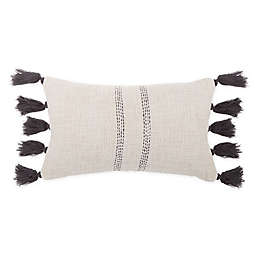 Bee & Willow™ Home Woven Tassel Oblong Throw Pillow in Charcoal