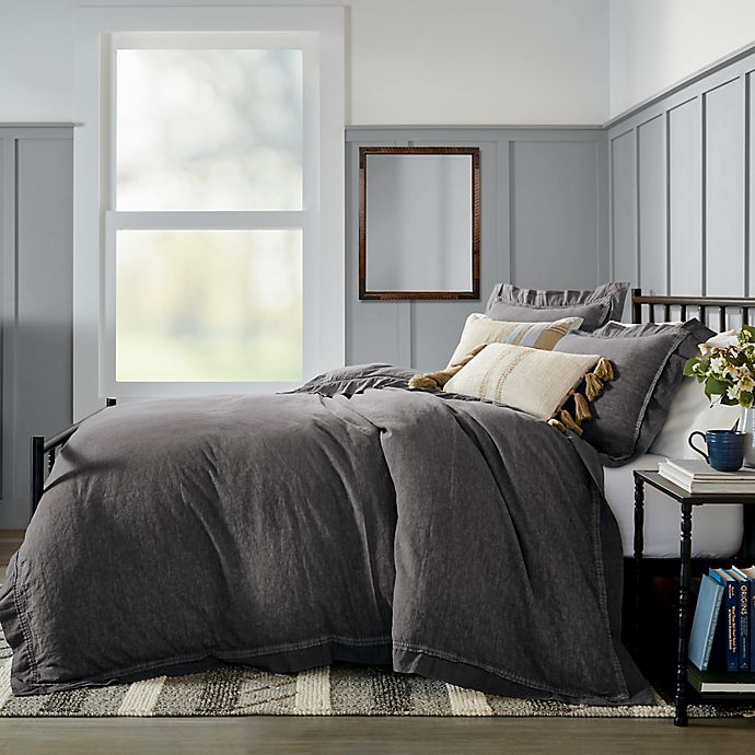 Alternate image 1 for Bee & Willow™ Home Washed Layered Trim 3-Piece Full/Queen Duvet Cover Set in Grey