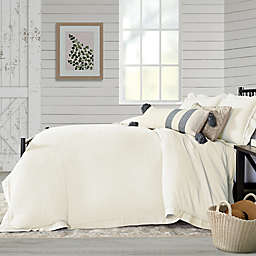 Bee & Willow™ Home Washed Layered Trim 3-Piece King Duvet Cover Set in Coconut Milk