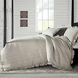Bee & Willow™ Stripe Ruffle 3-Piece Full/Queen Duvet Cover Set in Stone/White