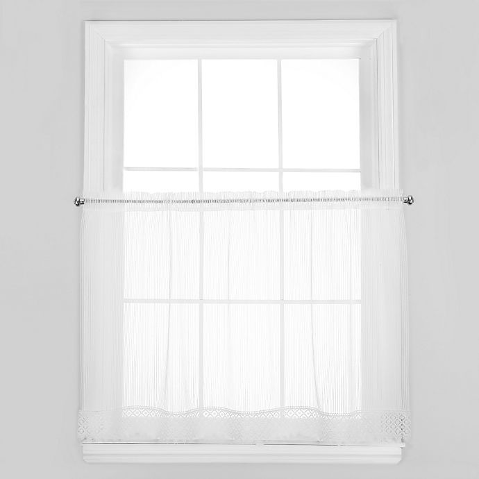 Alternate image 1 for Chelsea 24-Inch Window Curtain Tier with Trim in White