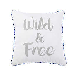 "VCNY Home ""Wild & Free"" Square Throw Pillow in White"