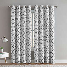 VCNY Home® Trellis 2-Pack 96-Inch Grommet Room Darkening Window Curtain Panels in White/Grey