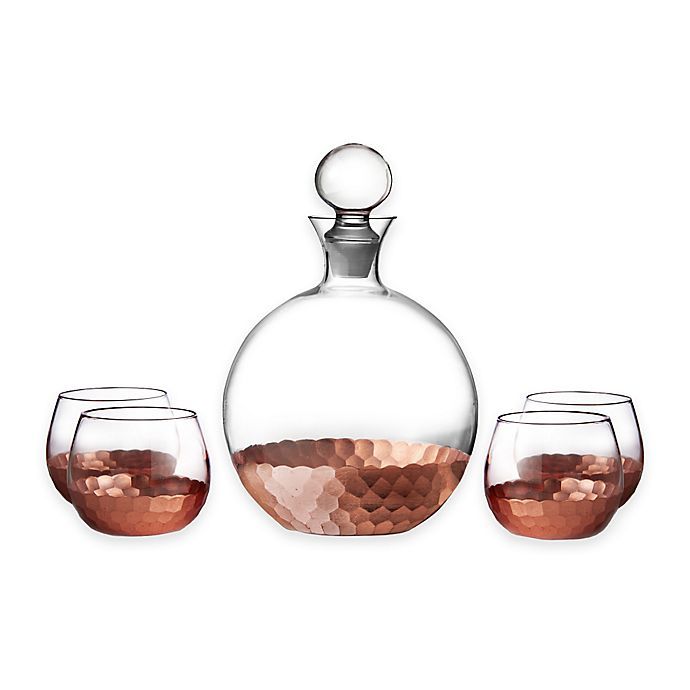Alternate image 1 for Fitz and Floyd® Daphne 5-Piece Large Whiskey Decanter Set in Copper (Set of 4)